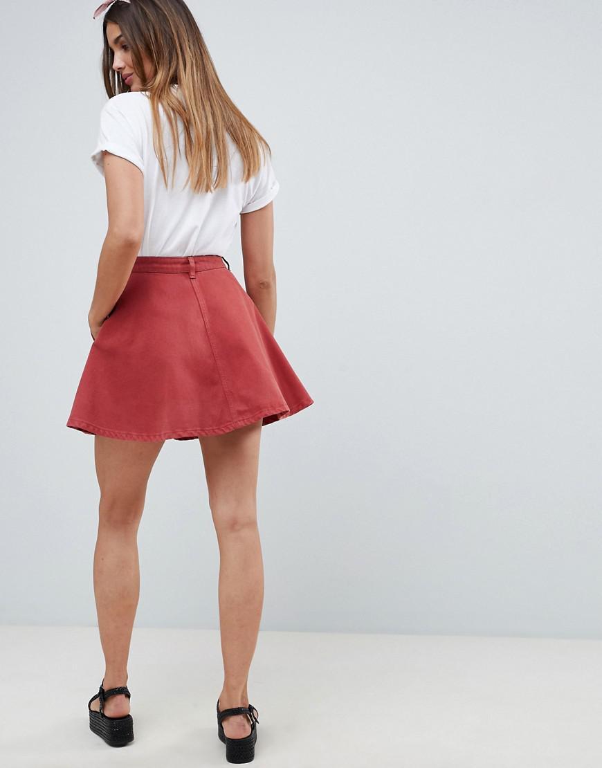 34827b3db ASOS Denim Circle Skirt In Rust in Brown - Lyst
