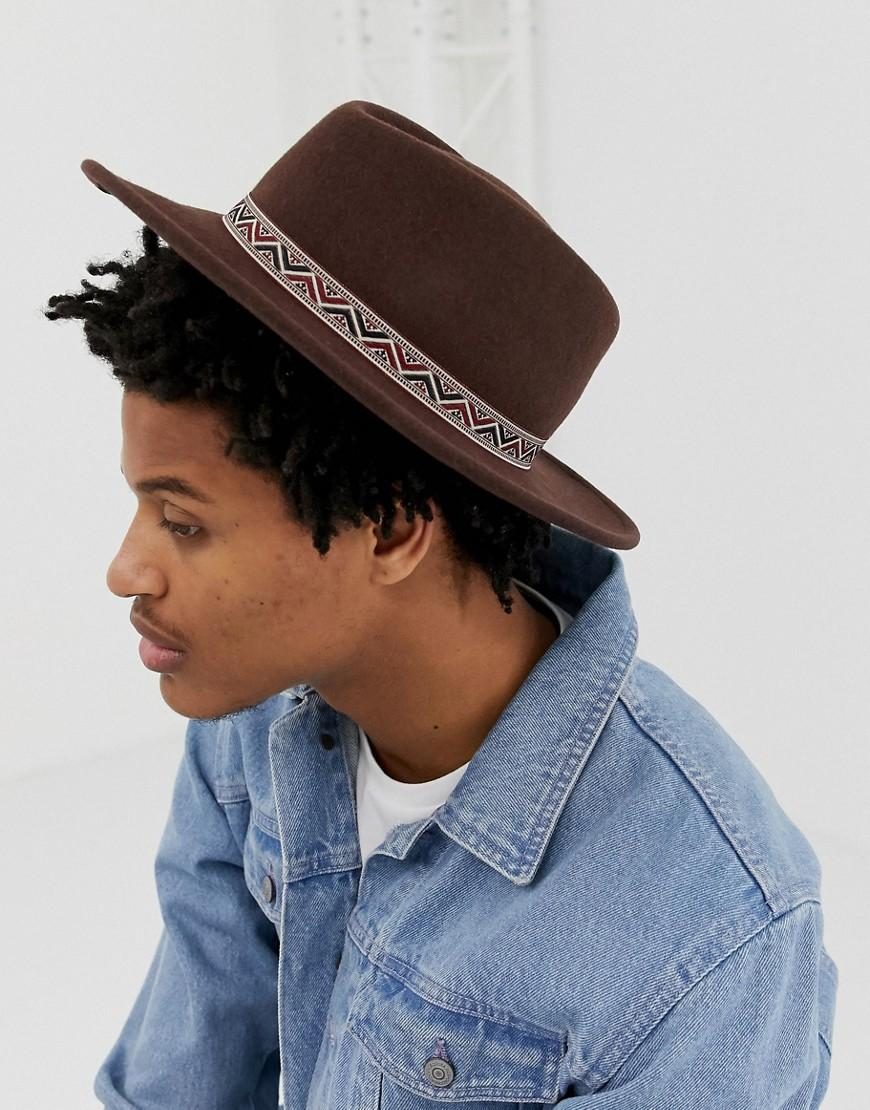 3f7c0419d8d72 ASOS Wide Brim Pork Pie Hat In Brown With Geo- Band in Brown for Men ...