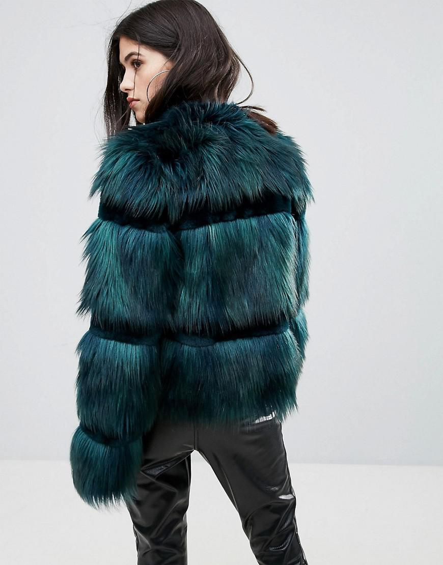 ad7597626a53 Urbancode Crop Coat In Faux Fur in Green - Lyst