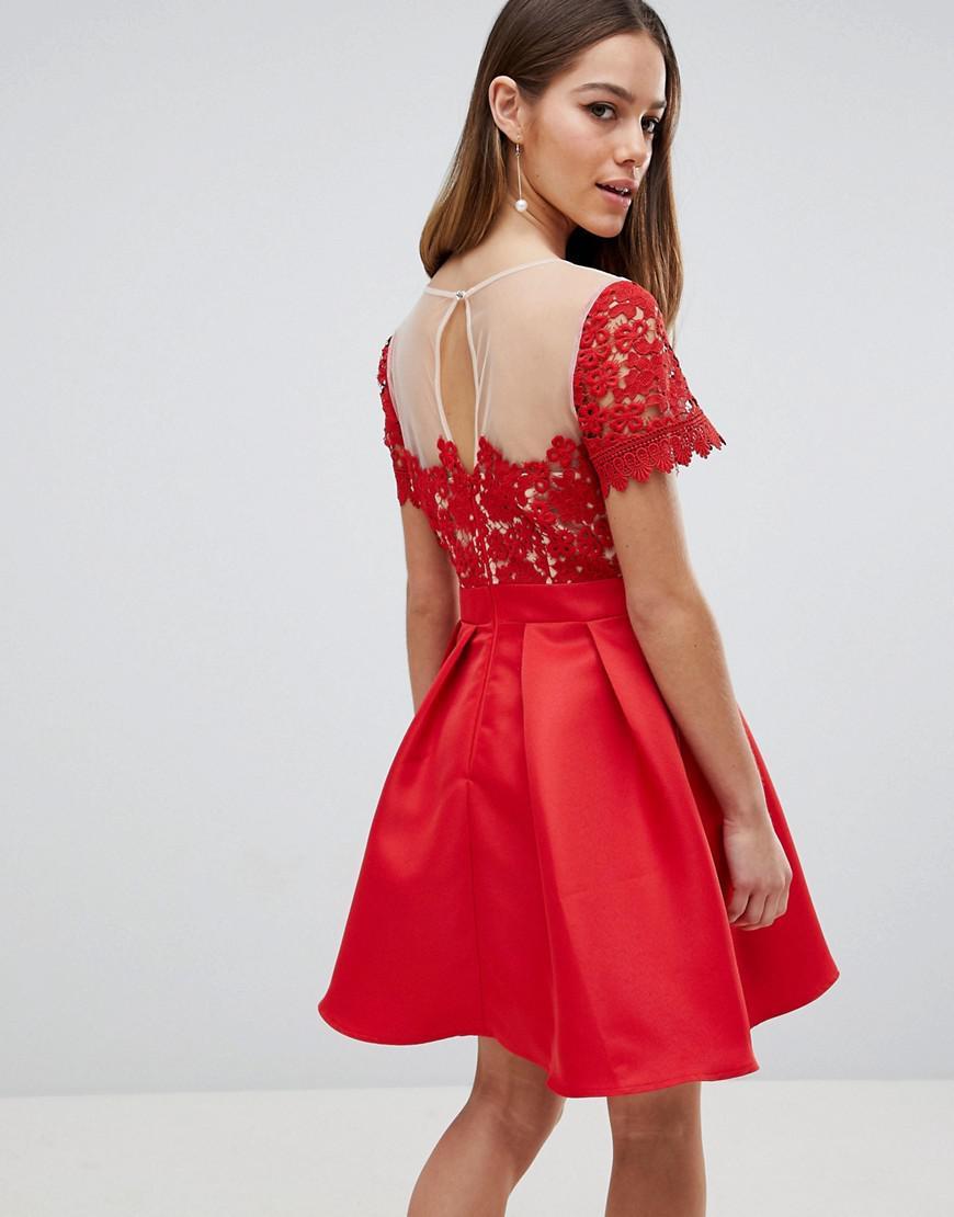 5eca342cf2 Little Mistress - Red Lace Top Mini Prom Dress - Lyst. View fullscreen