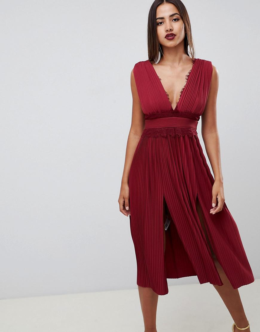6309d3f81d ASOS Premium Lace Insert Pleated Midi Dress in Red - Lyst