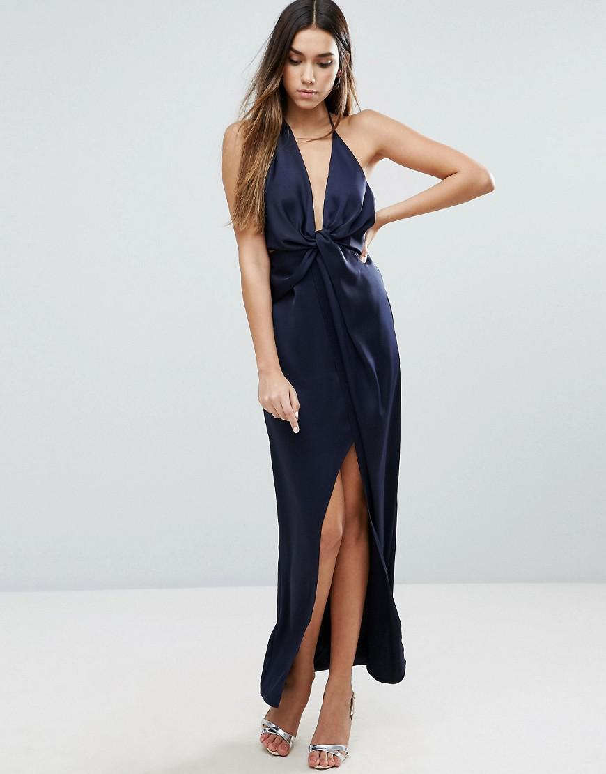 Asos Cami Strap Fold Front Wrap Maxi Dress In Blue Lyst