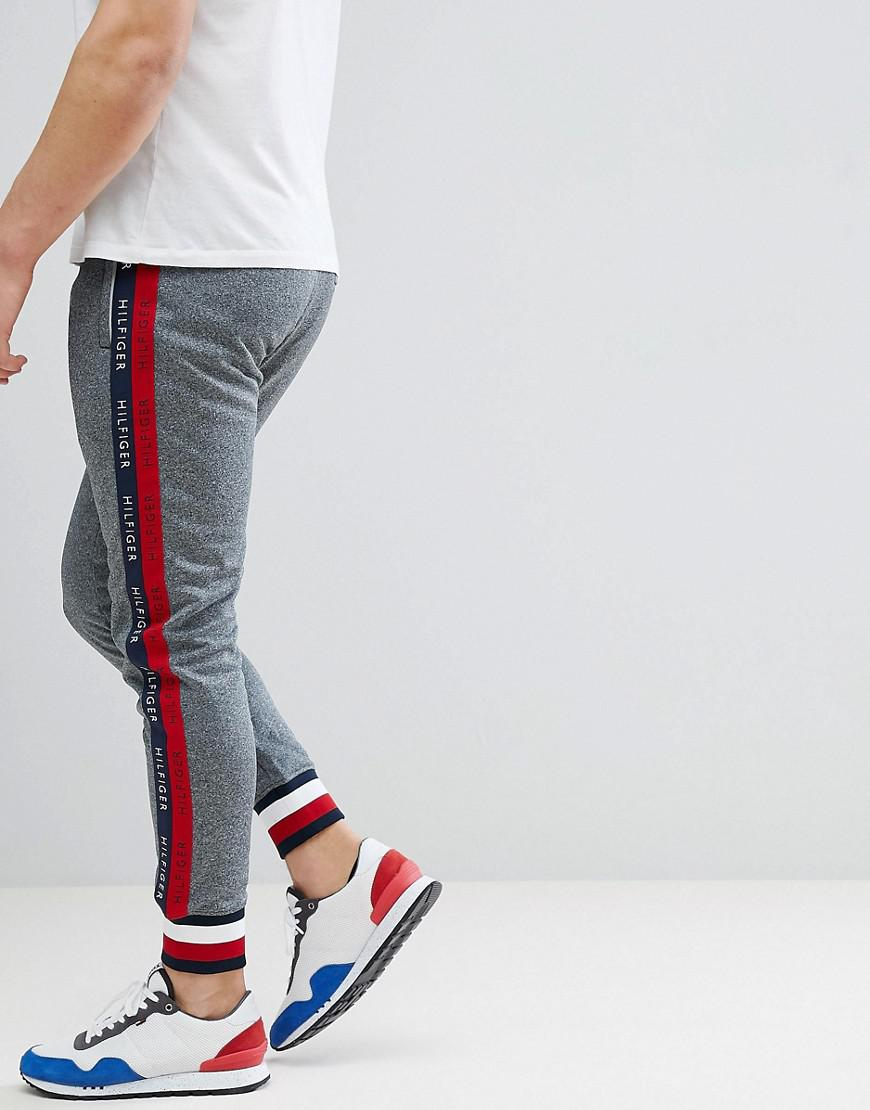bfd0132015431 Tommy Hilfiger - Gray Sports Capsule Cuffed Joggers Icon Stripe Trim   Side  Logo Taping In
