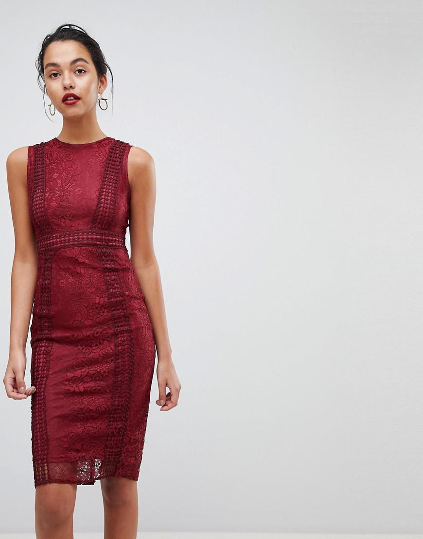 69f5bf86ff AX Paris Premium Lace Midi Dress in Red - Lyst
