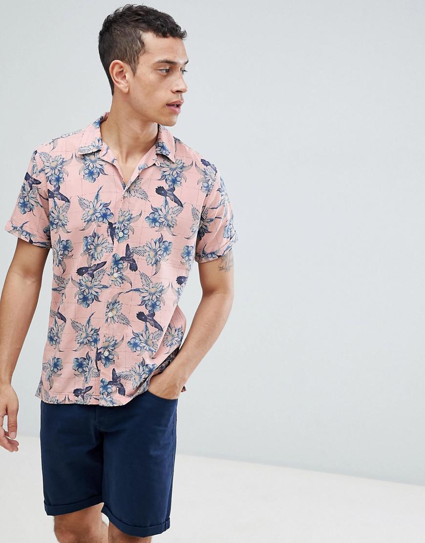 3f63fa4cdf3 Jack   Jones. Men s Pink Premium Revere Collar Short Sleeve Shirt With Floral  Print