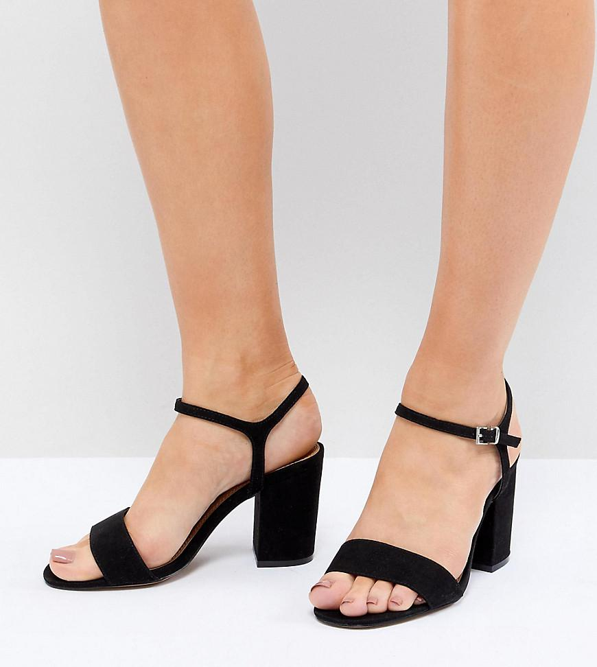 55e92bad1 ASOS Winter Extra Wide Fit Block Heeled Sandals in Black - Lyst