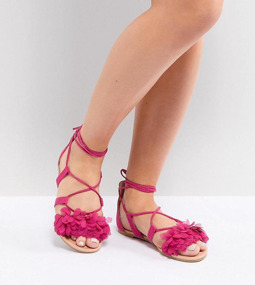 41911fcc723b1 ASOS Faa Wide Fit Tie Leg Flat Sandals in Pink - Lyst