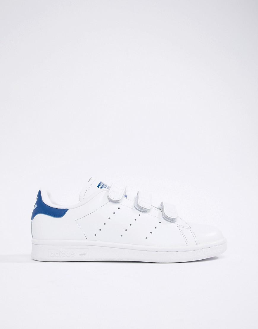 new arrival 5e8ce cc3bd Lyst - adidas Originals Stan Smith Velcro Trainers In White And Blue in  White