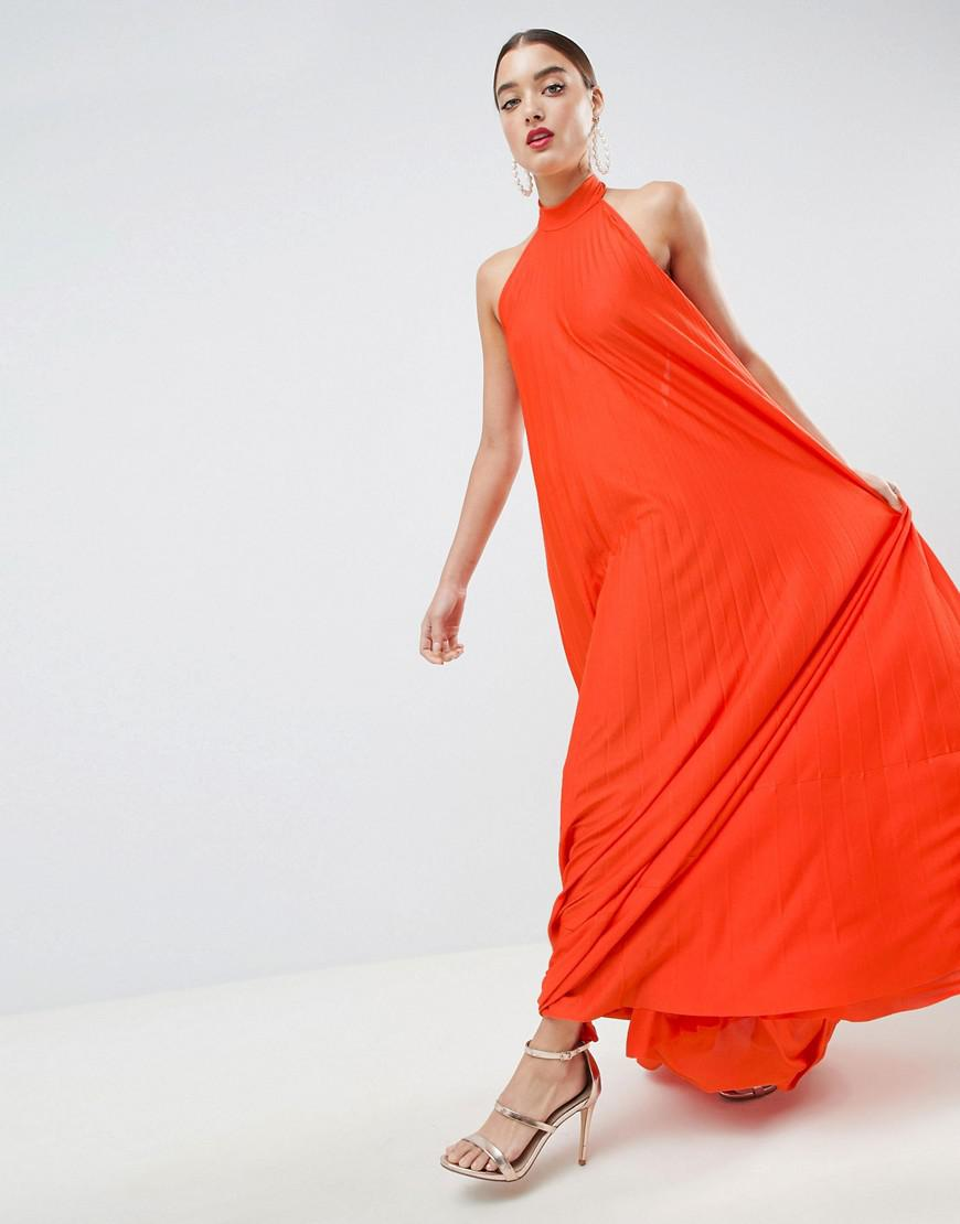 3225a95069 ASOS Backless Halter Pleated Maxi Dress in Orange - Lyst