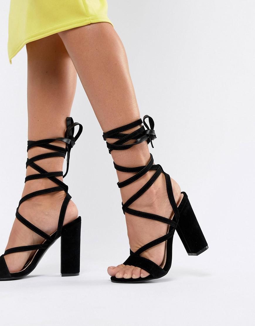 17477c3c5d46 Lyst - Public Desire Julia Black Block Heel Tie Up Sandals in Black