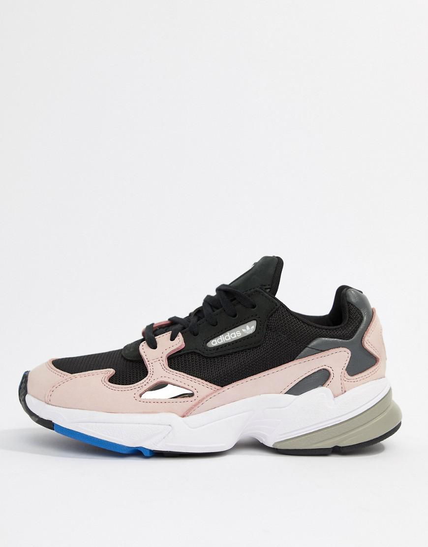 Lyst Adidas Originals Falcon Trainer In Black And Pink In Black