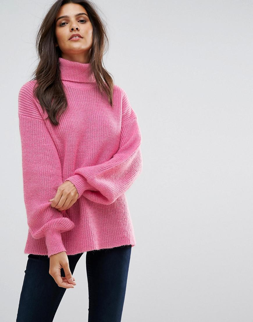 3ea07fe8831 Vero Moda Knitted Roll Neck Jumper in Pink - Lyst
