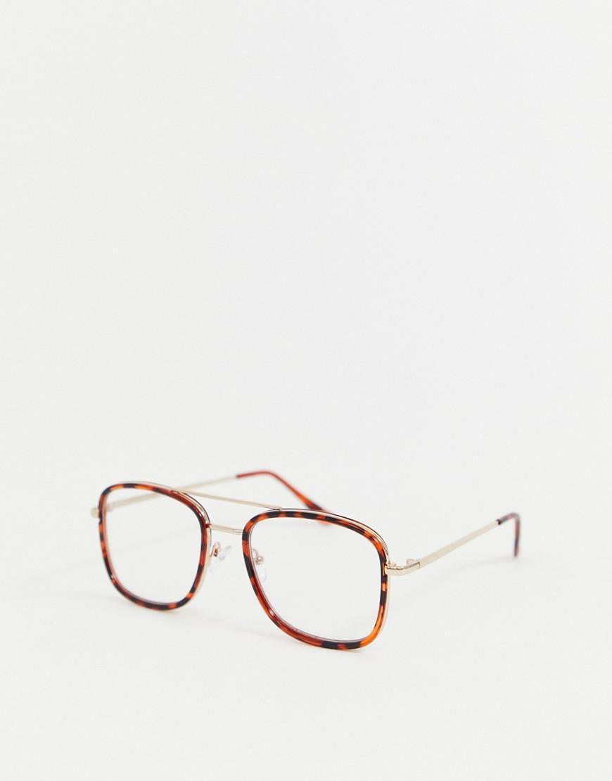 Transparentes Carey Con Marrn Efecto En De Lentes Detalle Gafas Y 9D2EHI