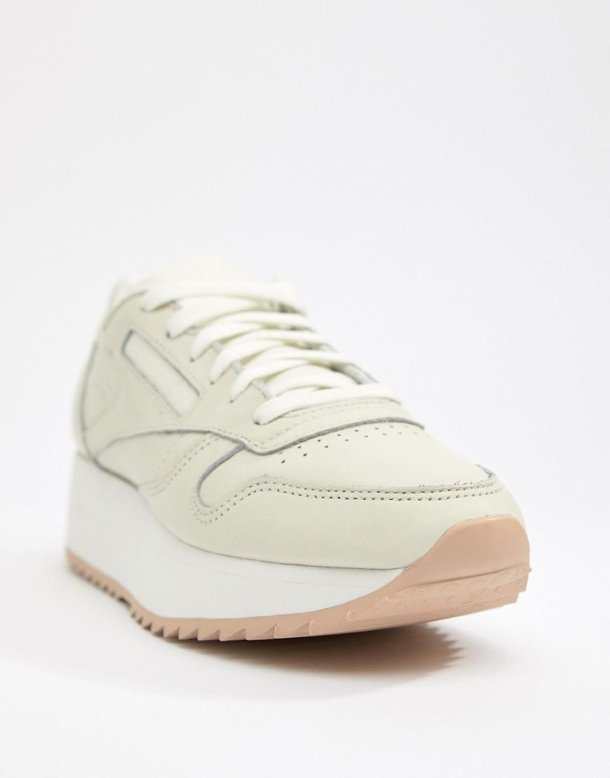 a132e530d19 Reebok Classic Leather Double Trainers in White - Lyst