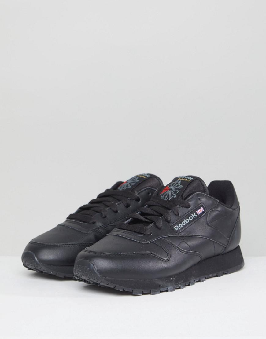 2eedd57ca91 Reebok Classic Leather Trainers In Black Leather in Black - Save 7% - Lyst