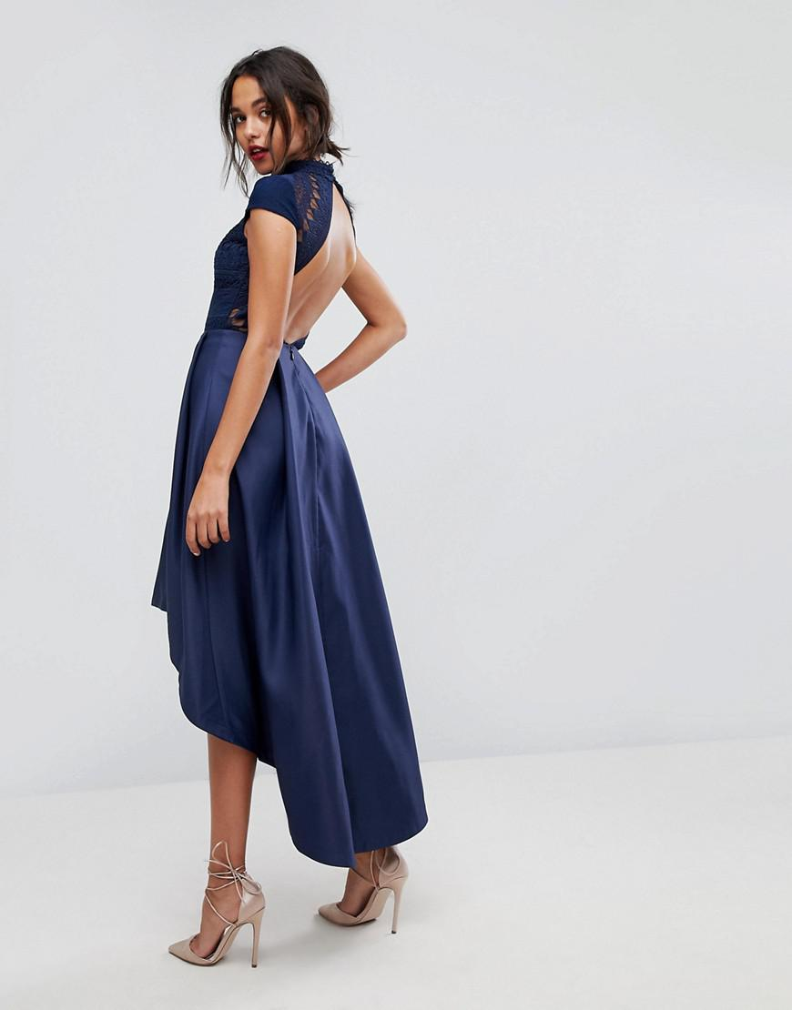 1ba357b8eaf Chi Chi London High Low Midi Dress With Open Back in Blue - Lyst