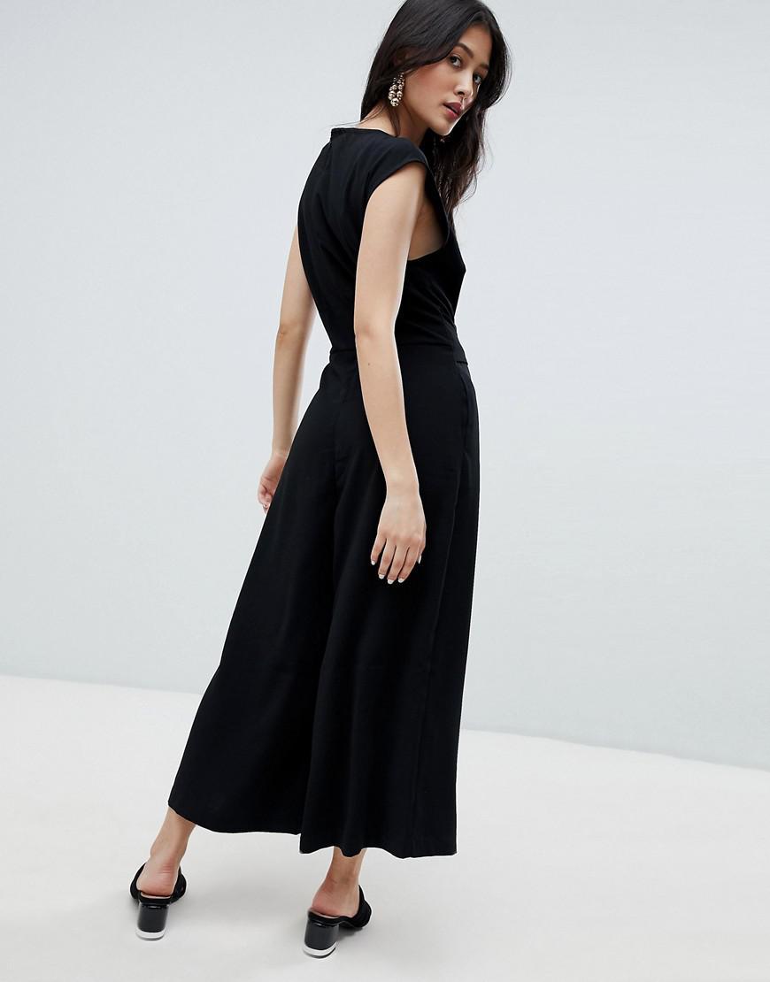 194b713697a Lyst - Vila Tie Waist Minimal Jumpsuit in Black