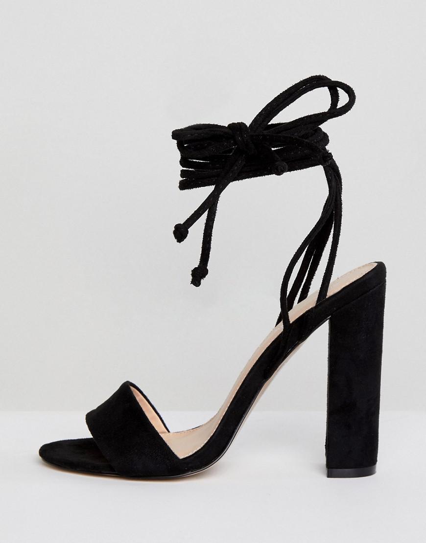 199d2f8ea0b Lyst - Public Desire Suzu Black Tie Up Block Heeled Sandals in Black