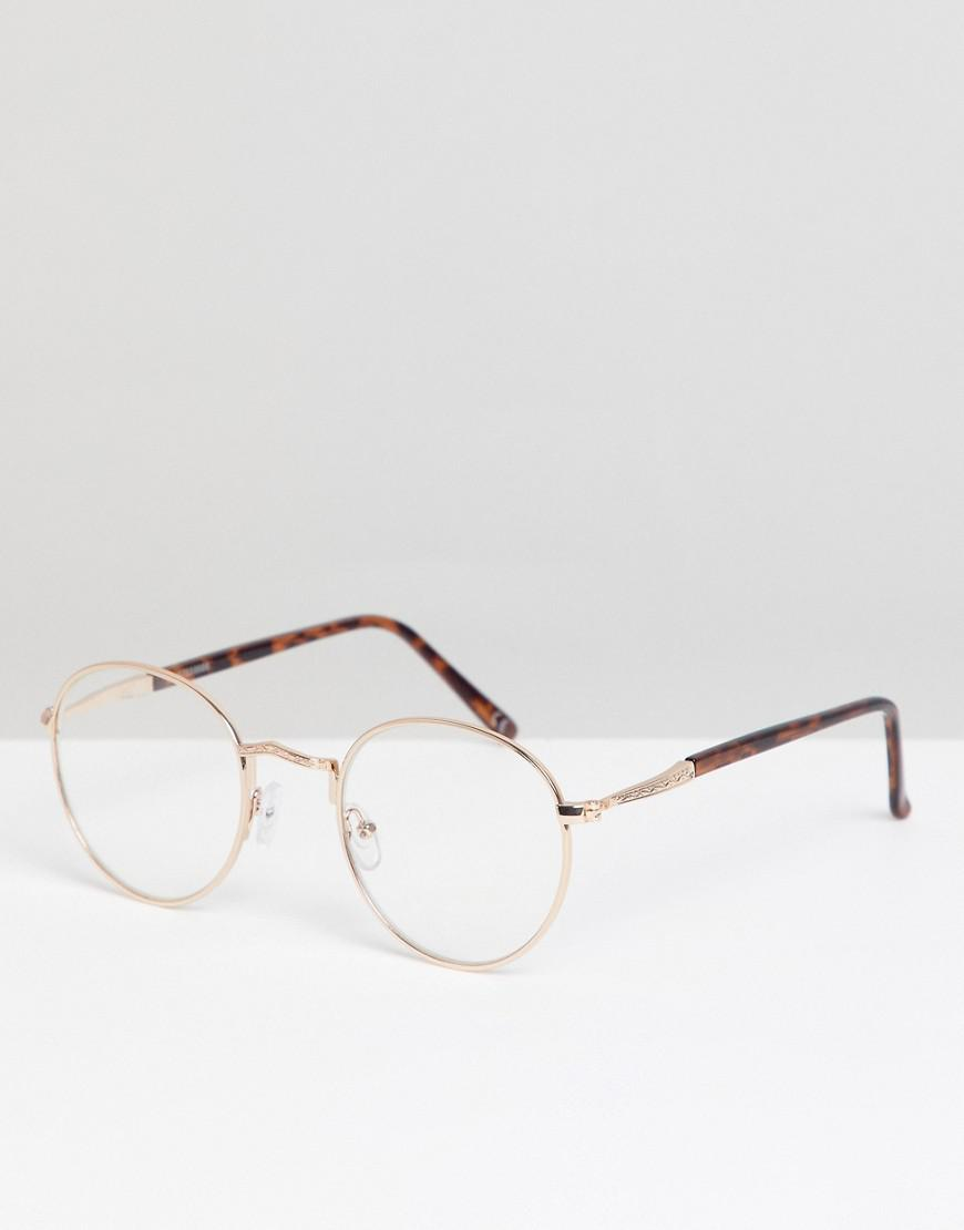 f3bd4cc67c Lyst - ASOS Glasses In Tort With Gold Detailing   Clear Lens in ...