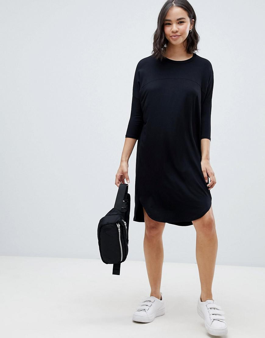 4935a5ba49579 ASOS Asos Oversize T-shirt Dress With Seam Detail in Black - Lyst