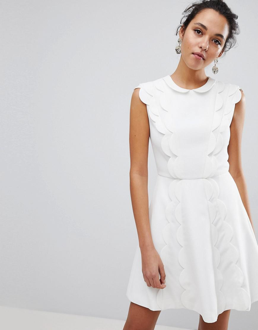 Ted Baker Triski A-line Skater Dress With Scalloped Panel in White ...