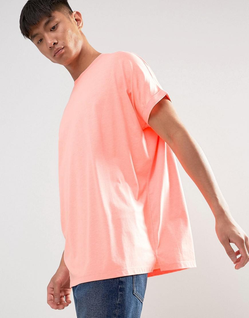 3cbf28516f1 Lyst - Asos Super Oversized Roll Sleeve T-shirt in Orange for Men