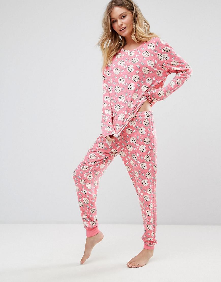 548d0baaf Lyst - Chelsea Peers Christmas Cookie Long Pyjamas in Pink