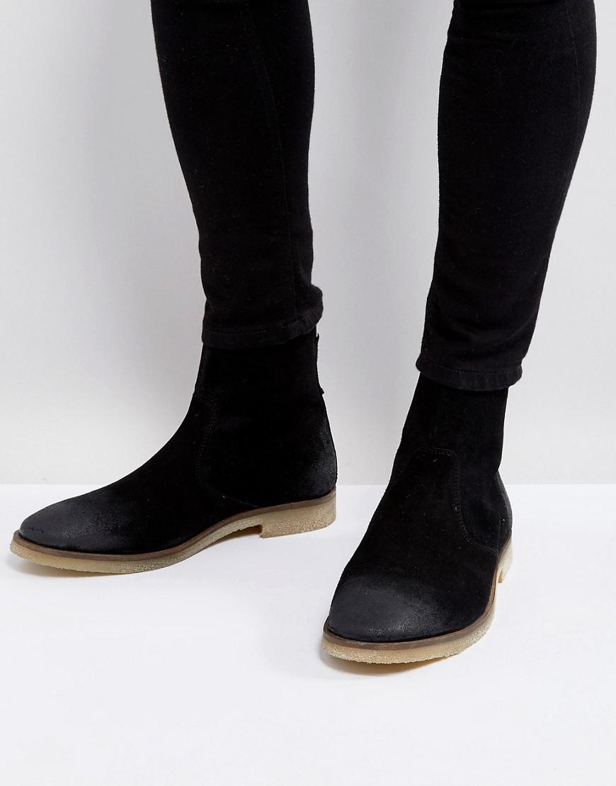 479cb29d743 Lyst - ASOS Asos Chelsea Boots In Black Suede With Back Zip Detail ...