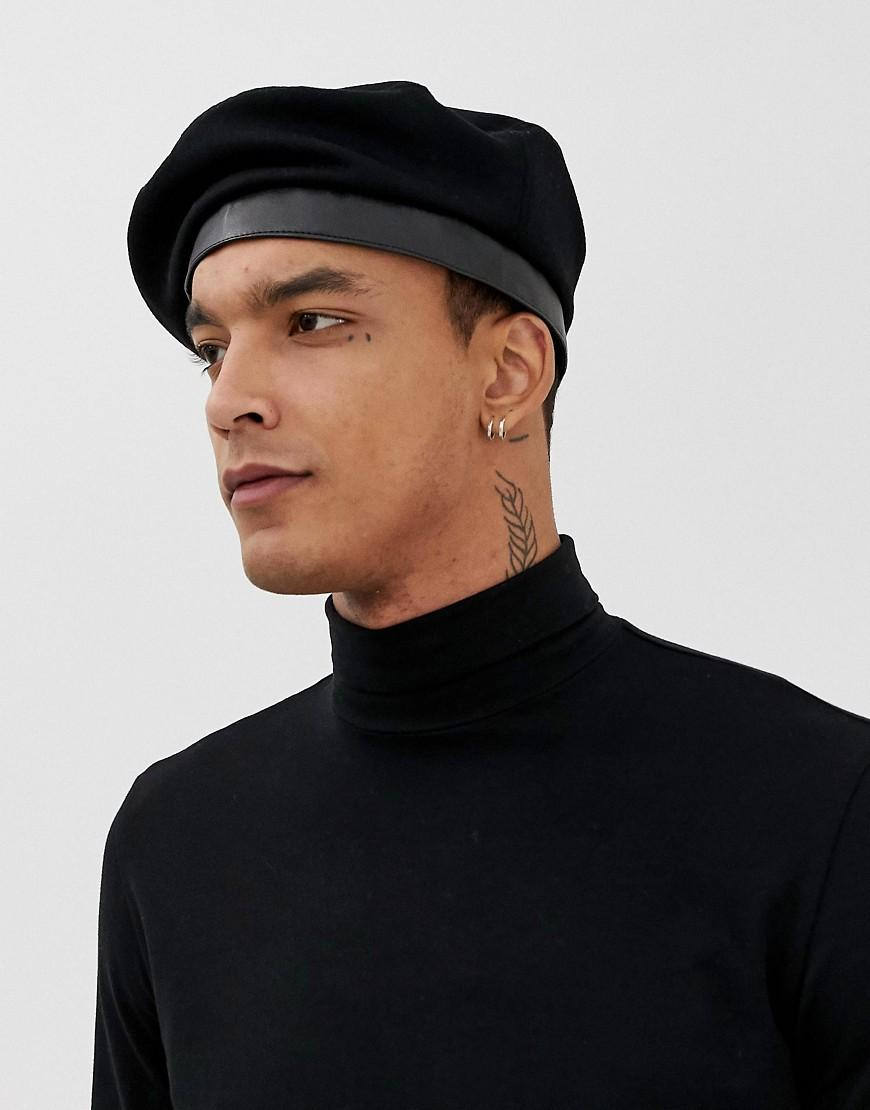 cb61975370237 ASOS Beret In Black With Clasp Front in Black for Men - Lyst