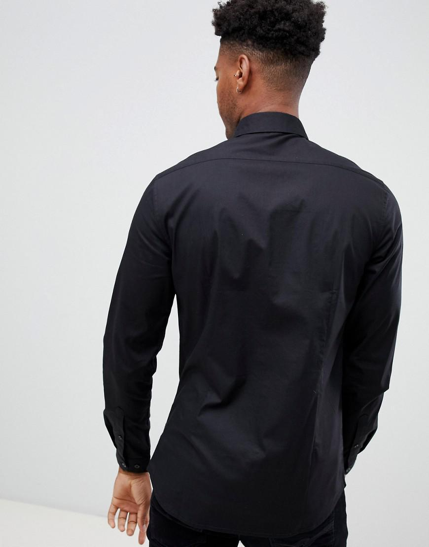 82f6983aad8f18 Lyst - Asos Tall Skinny Sateen Shirt In Black With Navy Sequin Bib in Black  for Men
