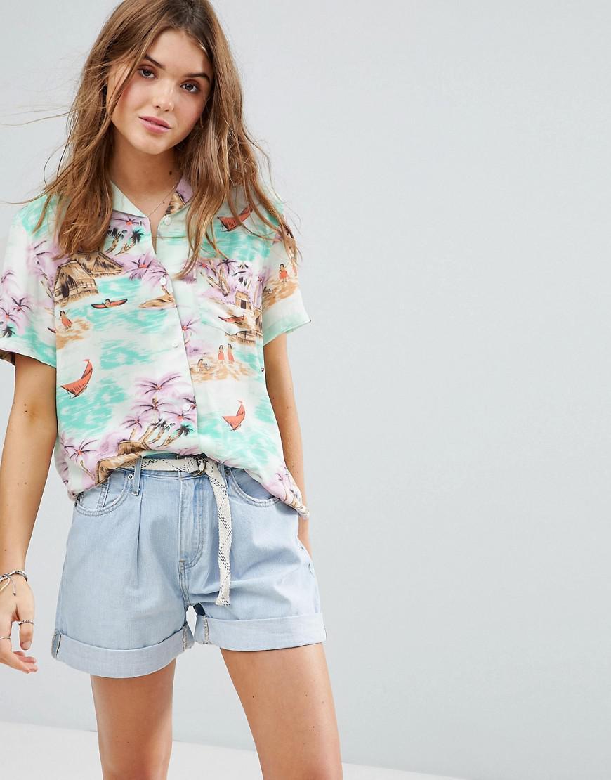 0657b1560798 Levi's Levi's One Pocket Boyfriend Fit Hawaiian Shirt in Blue - Lyst