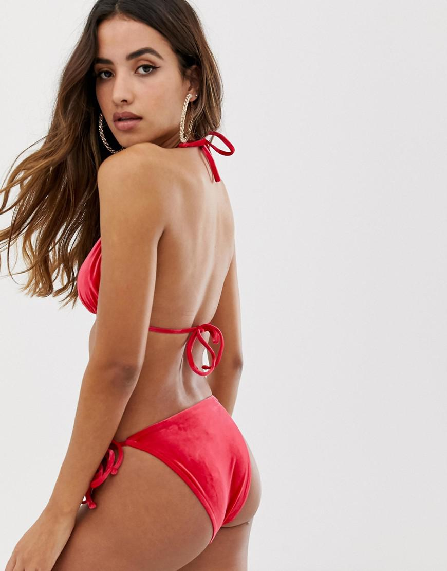 c86d994e559 ASOS Mix And Match Velvet Triangle Bikini Top in Red - Lyst