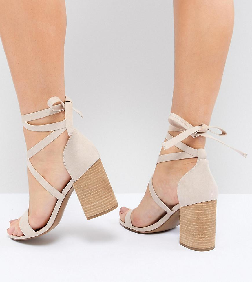 ASOS DESIGN Travis Tie Leg Heeled Sandals PihNW2