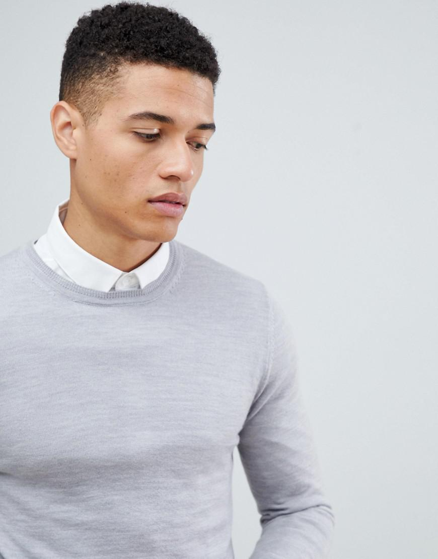 c773a0b6 Lyst - ASOS Muscle Fit Merino Wool Sweater In Pale Gray in Gray for Men