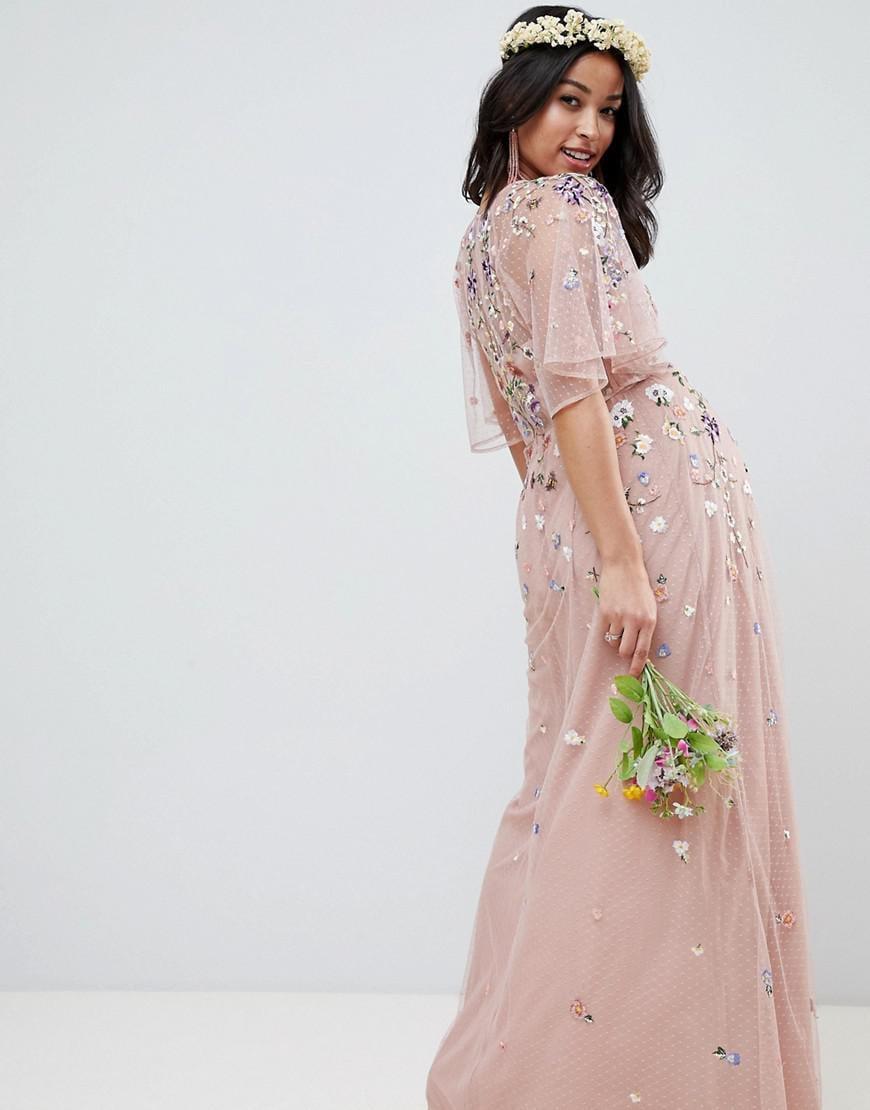2b5b3779329 ASOS Asos Design Maternity Floral Embroidered Dobby Mesh Flutter ...