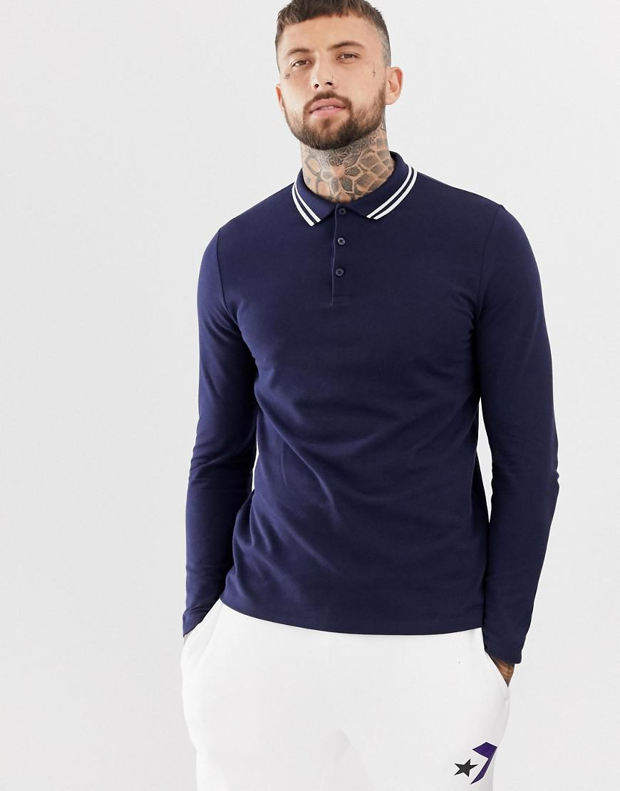 1168a105 ASOS Long Sleeve Pique Polo Shirt With Tipping In Navy in Blue for ...