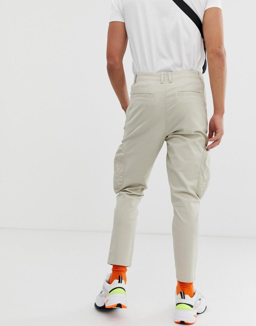 0dfcea8c95aa Lyst - ASOS Tapered Cargo Trousers In Beige With Neon Zip Pockets in  Natural for Men