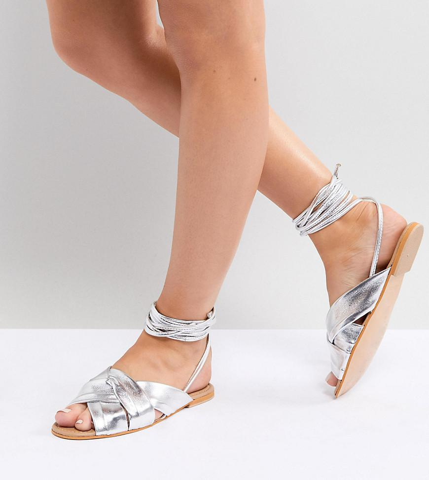 e27c551d107 ASOS. Women s Metallic Valley Wide Fit Leather Knotted Tie Leg Flat Sandals