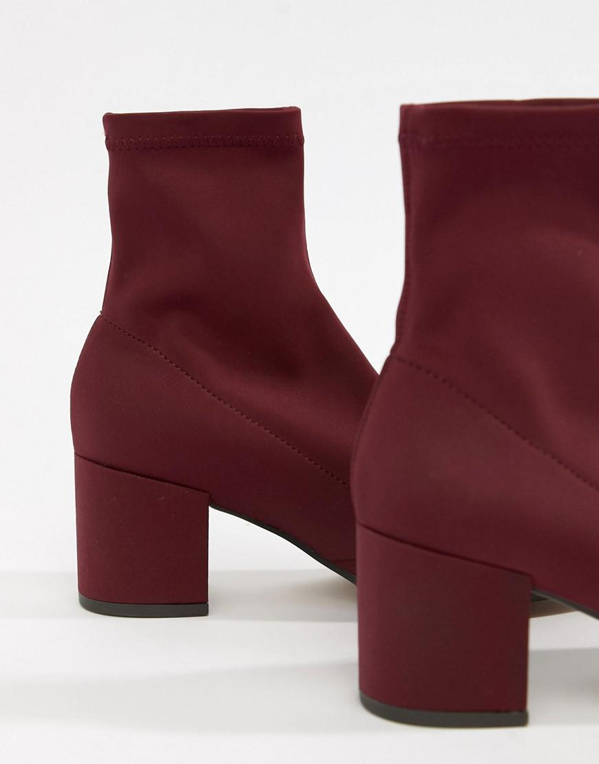 5b37ff5a755 ASOS Rally Heeled Sock Boots in Red - Lyst