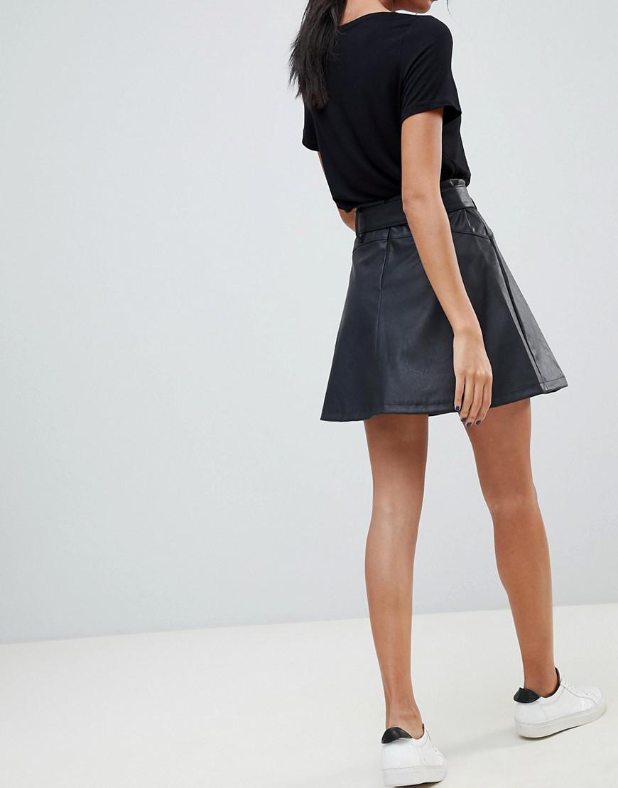 3041935d56729d ASOS Asos Leather Look Mini Skater Skirt With Belt Detail in Black - Lyst