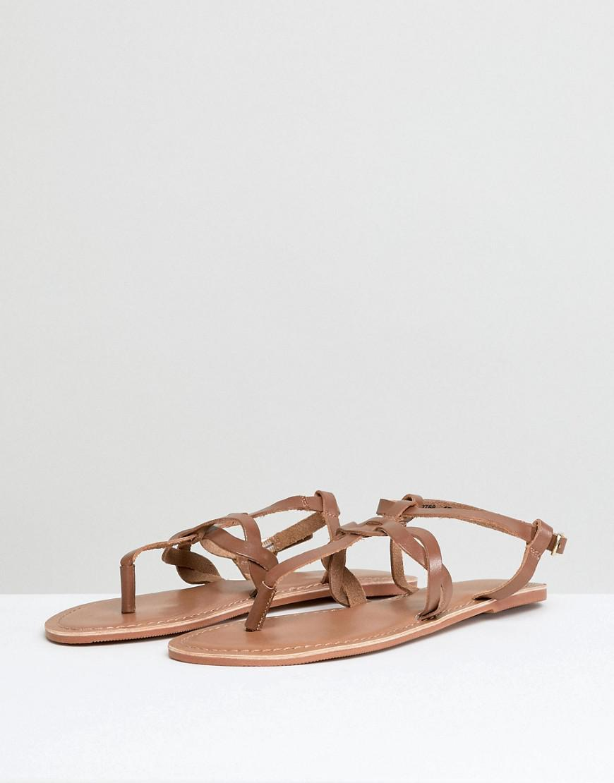 bf8c42390010 New Look Leather Twist Toe Post Flat Sandal in Brown - Lyst