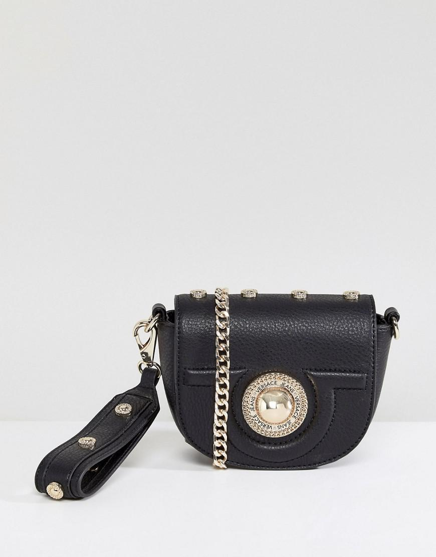 Lyst - Versace Jeans Half Moon Mini Crossbody Bag in Black 7b6843a073e28