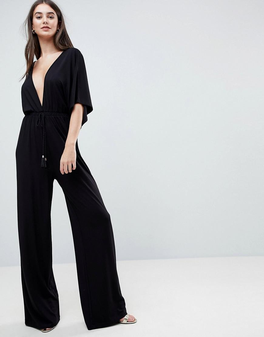 423ecf0ca19 ASOS Asos Jersey Plunge Jumpsuit With Kimono Sleeve And Rope Tie in ...