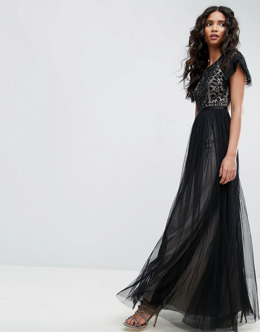 8f6afcc33b0 Needle   Thread Primrose Lace Bodice Gown in Black - Lyst