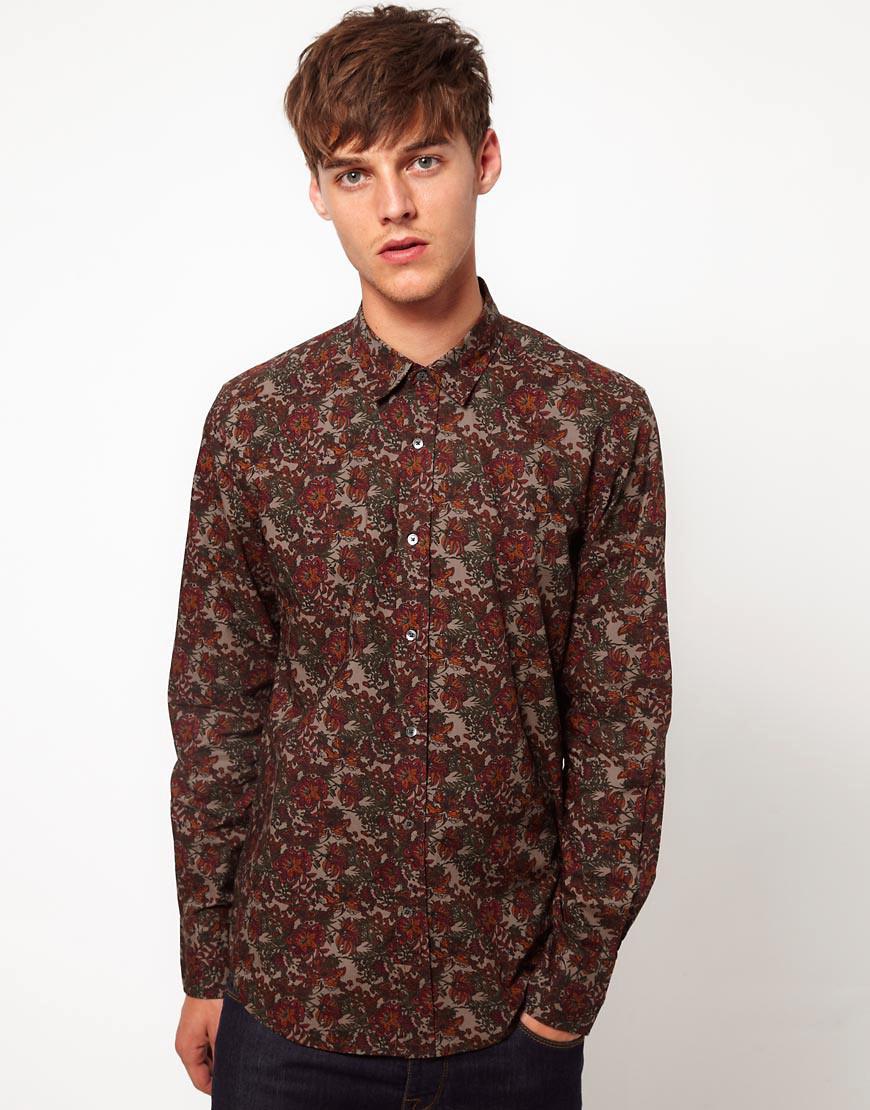 287f0df048ec Antony Morato Floral Shirt in Brown for Men - Lyst