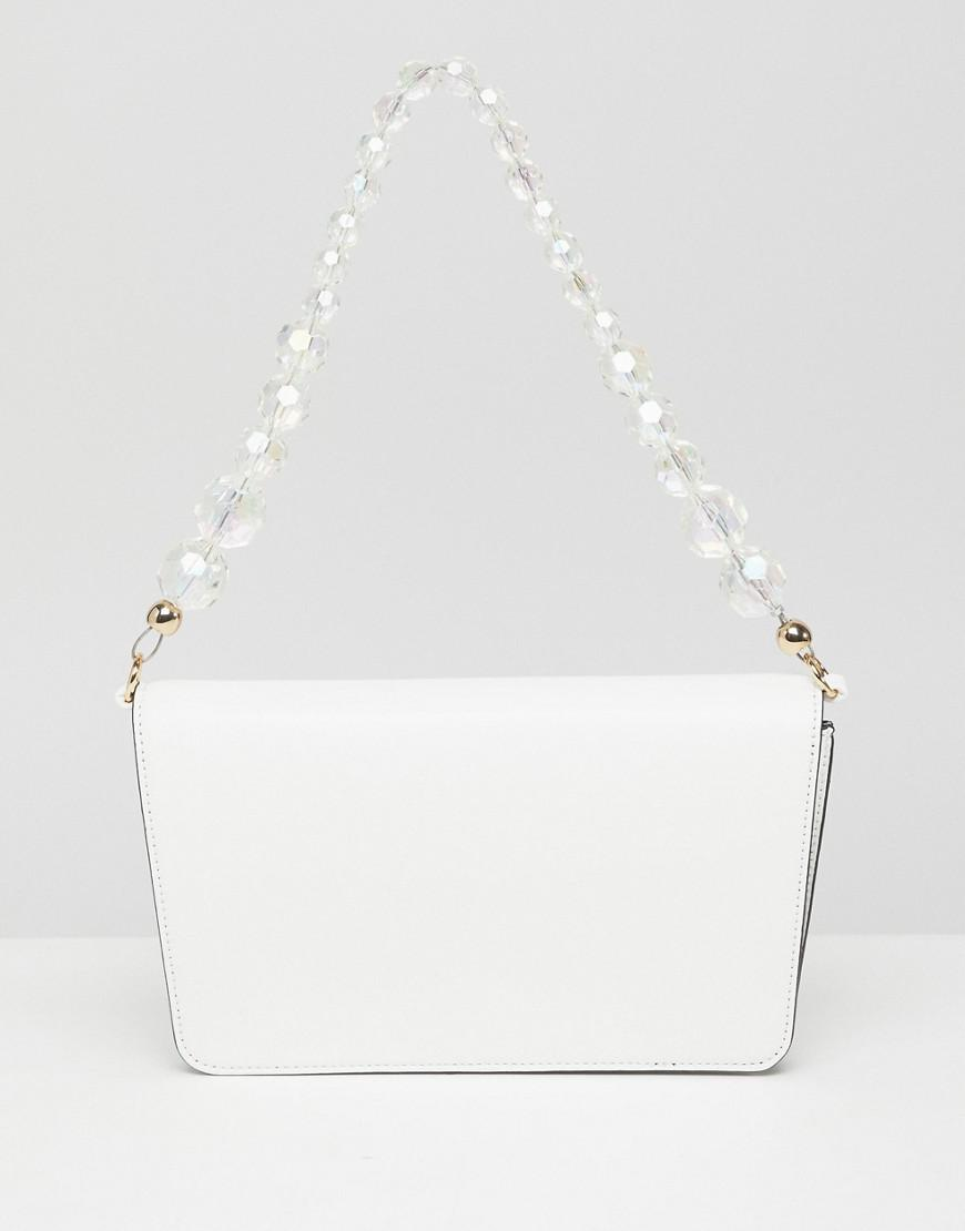 1522bd1e6975 Lyst - Asos Shoulder Bag With Beaded Strap in White