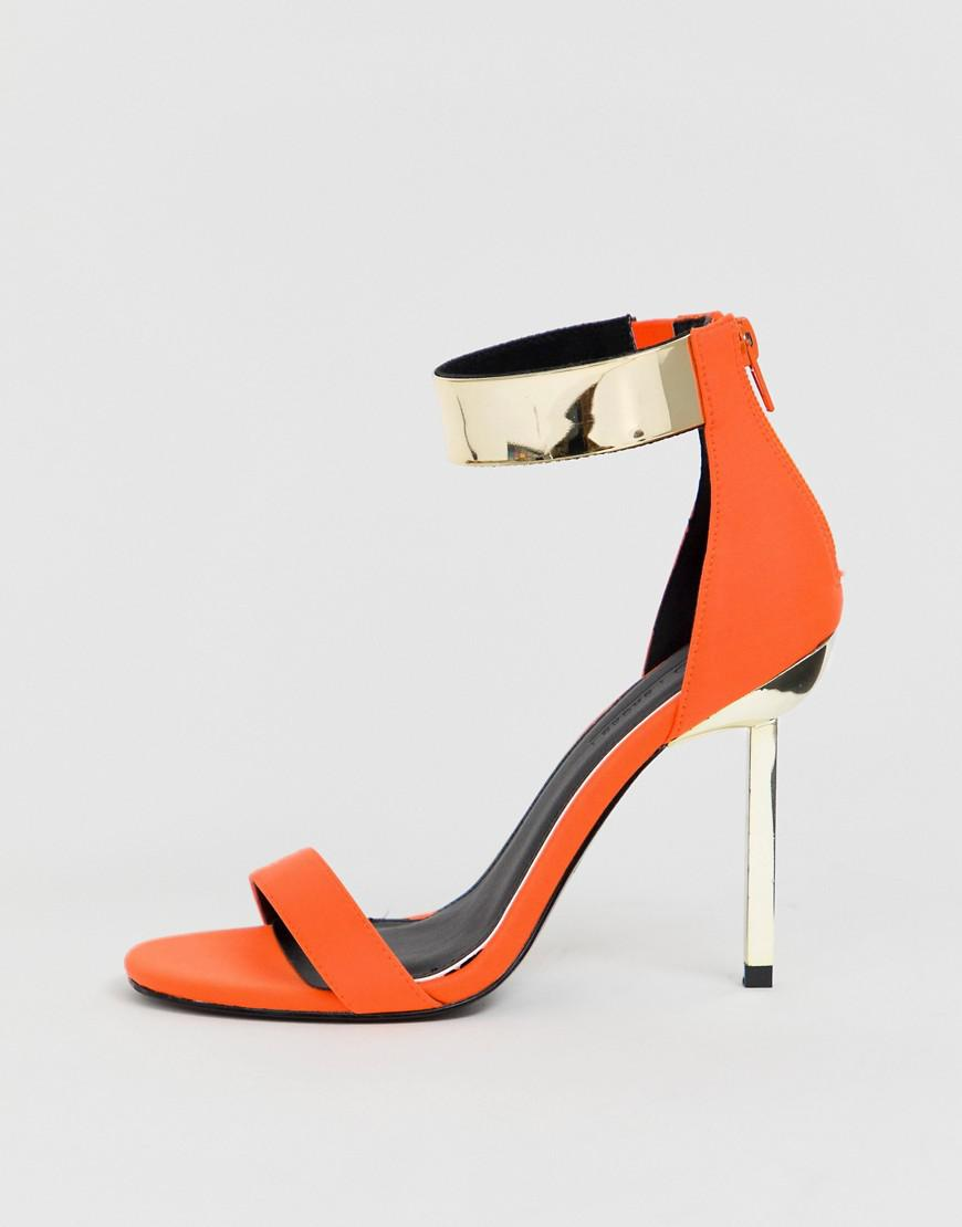 4ef4f1006863 ASOS Hydroid Barely There Heeled Sandals In Neon Orange in Orange - Lyst