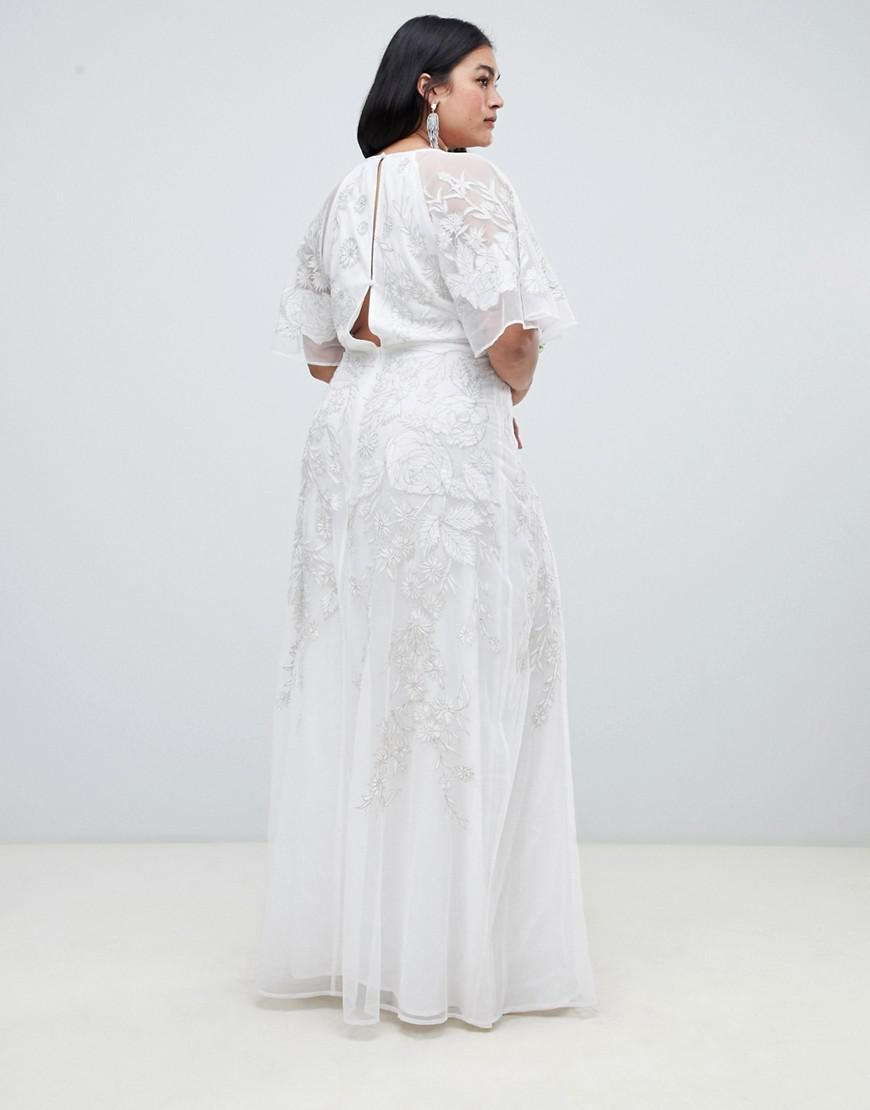 9a1340328bf ASOS Asos Edition Curve Floral Applique Wedding Dress in White - Lyst