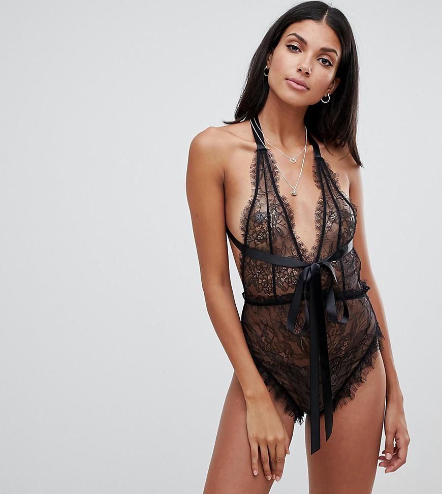 75a242e1a7e9b ASOS. Women s Black Asos Design Tall Lorelli Super Plunge Lace Body With  Bow Detail