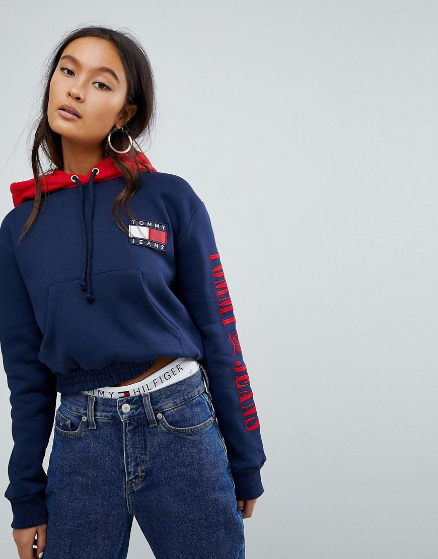 2a997781e139e9 Lyst - Tommy Hilfiger Tommy Jeans 90s Capsule Contrast Crop Hoodie ...